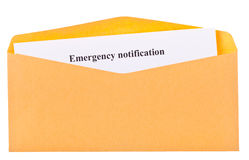 Emergency notification Stock Image
