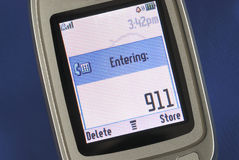 Emergency number 911 displayed on a cell phone Stock Photos
