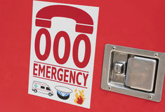 Emergency number in Australia on a fire brigade royalty free stock photography