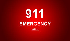 911 emergency number. On red background Royalty Free Stock Photos