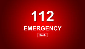 112 emergency number. On red background vector illustration