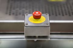 Emergency ON/OFF industrial switch. Of a food industry equipment. Emergency stop royalty free stock photos