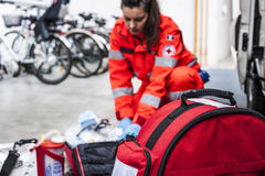 Emergency operator in action. With ambulance after fatal accident Royalty Free Stock Image