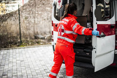 Emergency operator in action. With ambulance after fatal accident Royalty Free Stock Photo