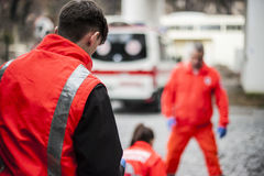Emergency operator in action Stock Images