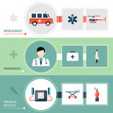 Emergency Paramedic Banners Set Royalty Free Stock Images