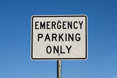Emergency Parking Only Sign Stock Photography