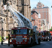 EMERGENCY pERSONEL ON SCENE. Boston Tower Ladder 17 reponding to a 911 call Royalty Free Stock Photos