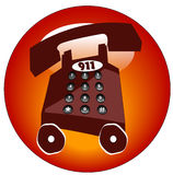 Emergency phone icon. Emergency telephone with 911 button or icon Royalty Free Stock Photos