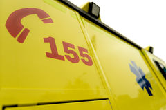 Emergency phone number sign on ambulance car Royalty Free Stock Image