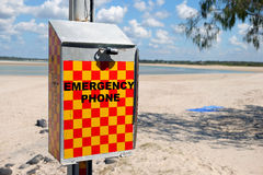 Emergency phone. Queensland beaches present a number of dangers beyond drowning such as crocodiles, stinging jellyfish and shark attacks royalty free stock photo