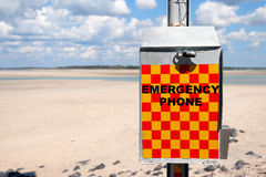 Emergency phone. Queensland beaches present a number of dangers beyond drowning such as crocodiles, stinging jellyfish and shark attacks royalty free stock photography