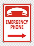 symbol Emergency Phone (Right Arrow) Sign on transparent background vector illustration