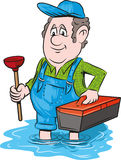 Emergency plumber. Vector illustration of an emergency plumber Stock Photos