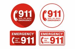 Emergency Call 911 Sign white background. Emergency Police Fire Medical Call 911 Sign uses safety messages for emergency response protocol and compliance.  file Stock Photography