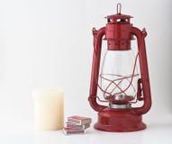 Emergency or power outage kit. Kerosene lantern, matches and candle Stock Images