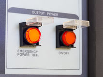Emergency power switch on and off Royalty Free Stock Image