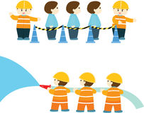 Emergency practice. In factory info graphic illustration Royalty Free Stock Photo
