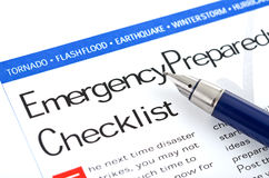 Emergency Preparedness Checklist. Fountain pen lying on  Emergency Preparedness Checklist  form Stock Photos