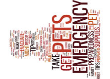 Emergency Preparedness Tips For Pet Owners Word Cloud Concept. Emergency Preparedness Tips For Pet Owners Text Background Word Cloud Concept Stock Images