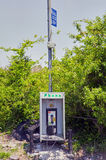 Emergency public telephone booth box. An emergency roadside public telephone booth box with no people Stock Images