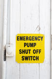 Emergency pump shut off or stop push button switch sign royalty free stock photos