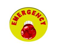 Emergency push button. Red emergency button isolated on white background Stock Image