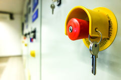 Emergency push button to stop all machines Royalty Free Stock Photo