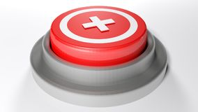 Emergency pushbutton - 3D rendering. A red pushbutton with a white cross in a circle on its upper part - 3D rendering illustration Royalty Free Stock Images