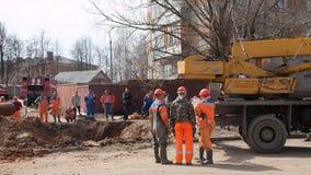 Emergency repairs. VLADIMIR, RUSSIA - APRIL 17:  Emergency repairs on April 17, 2012 in Vladimir, Russia. City service and rescuers do emergency repair work on Stock Image