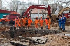 Emergency repairs. VLADIMIR, RUSSIA - APRIL 19:  Emergency repairs on April 19, 2012 in Vladimir, Russia. City service and rescuers do emergency repair work on Stock Images