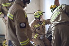 Emergency rescue team in action during NATO Vigorous Warrior 19 exercise. BUCHAREST/ROMANIA - APRIL 10, 2019: Emergency rescue team in action during the most stock images