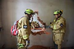 Emergency rescue team in action during NATO Vigorous Warrior 19 exercise. BUCHAREST/ROMANIA - APRIL 10, 2019: Emergency rescue team in action during the most royalty free stock image