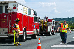 Emergency response. Fire department responds to highway emergency Stock Photography