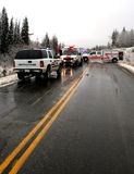 Emergency response team. An accident scene in the winter Stock Images