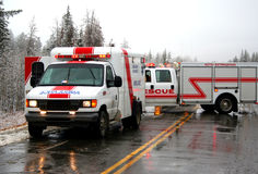Emergency response team. An accident scene in the winter Stock Photography