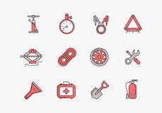 Emergency road kit items. Emergency flat line icons set. Automobile items. Car service and repairing equipment. Vector illustrations. Auto mechanic tools Royalty Free Stock Photography