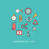 Emergency road kit items. Emergency flat line icons set. Icons placed in the form of a circle. Automobile items. Car service and repairing equipment. Vector Royalty Free Stock Photo