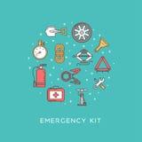 Emergency road kit items Royalty Free Stock Photo
