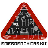 Emergency road kit items set. Car service and repairing equipment. Auto mechanic tools. Ice scraper and jumper cables. Triangle wa Royalty Free Stock Photos