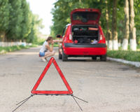 Emergency road sign Stock Image