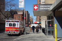 Emergency Room. An ambulance outside the entrance to Mount Sinai St. Luke's Emergency Room, in New York City royalty free stock image