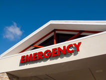 Emergency Room Entrance. Hospital emergency room sign over or urgent care health care facility. Urgent care Stock Image