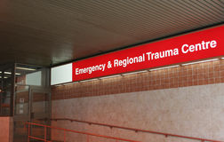 Emergency room sign. Bright red Emergency room sign on Hospital building royalty free stock images