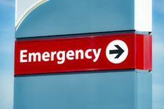 Emergency Room Sign. Close-up horizontal shot of an Emergency Room Sign stock photo