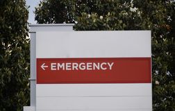 Emergency Room Sign at Hospital. Red and White Hospital Emergency Room Direction Sign stock photos