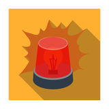 Emergency rotating beacon light icon in flat style isolated on white background. Police symbol stock vector illustration Royalty Free Stock Photo