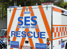 Emergency. S.E.S. State Emergency Service in Victoria Australia: is taking part in the Geelong Hospital's Gala Day Parade now in its 97th year. It is a Stock Images