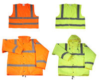 Emergency safety vest and jacket. Isolated on white Royalty Free Stock Images