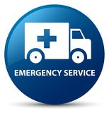 Emergency service blue round button. Emergency service isolated on blue round button abstract illustration Royalty Free Stock Photography